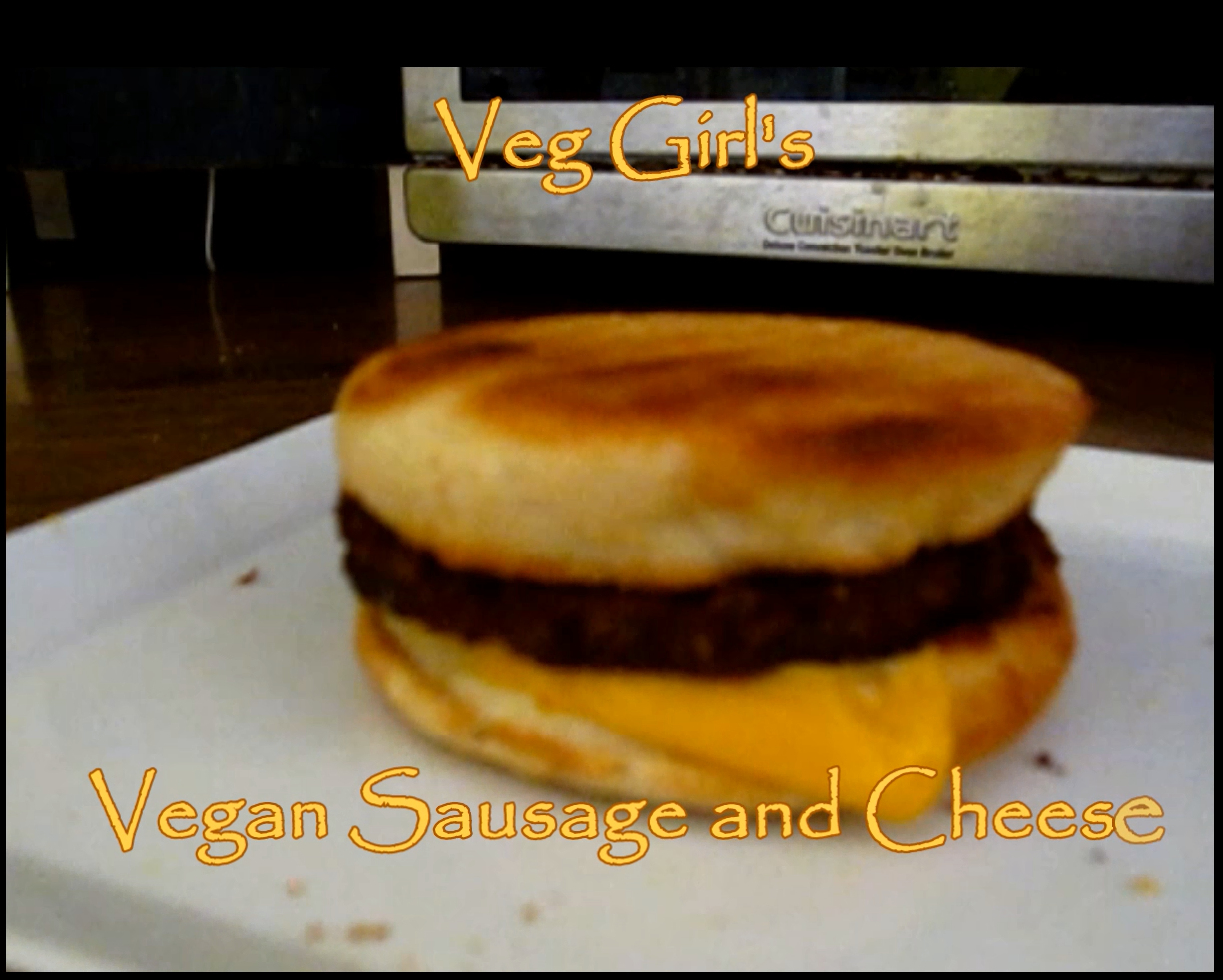 Vegan Sausage and Cheese Breakfast Sandwich